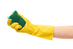 Close up of female hand in yellow protective rubber glove holding green cleaning sponge Royalty Free Stock Photography