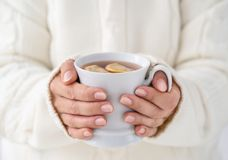 Female hands holding cup of tee Royalty Free Stock Photo