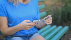 Close up of female hands making online payment . stock video footage