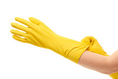 Close up of female hands putting on yellow protective rubber gloves Stock Photo