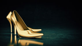 Close-up of female high-heeled shoes. 3d rendering Royalty Free Stock Photos