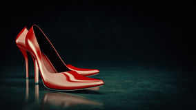 Close-up of female high-heeled shoes red. 3d rendering Stock Photos