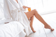 Close up of female legs that being in great shape Royalty Free Stock Images
