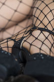 Close up of female legs in fishnet stockings and high heels Stock Photography