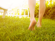 Close up female legs walking on the grass. Stock Photo