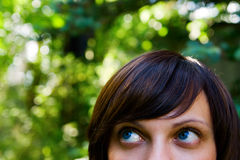 Close-up of a Female Looking Stock Photography