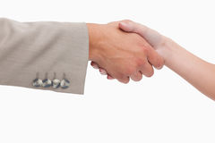 Close up of female and male hand shaking Stock Photos