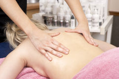Close Up of female masseuse with client Royalty Free Stock Photos