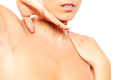Close up of female neck and shoulder Royalty Free Stock Images