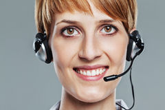 Close up of female operator with headset Stock Photos