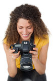 Close-up of a female photographer Royalty Free Stock Photo