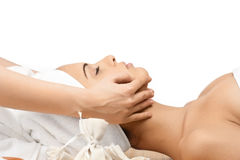 Close-up of a female receiving facial massage Royalty Free Stock Photos