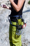 Close-up of a female rock climber Royalty Free Stock Photos