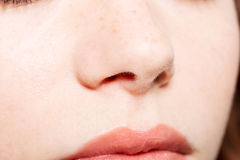 Close up of a female's face- nose and mouth. Royalty Free Stock Images