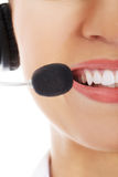 Close up on female's mouth with microphone. Stock Photos