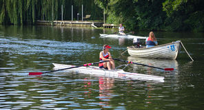 Close up of Female Sculler, Newark Club on the River Ouse at St Neots. Stock Photography