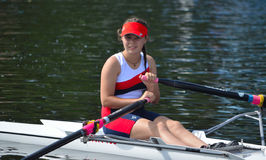Close up of Female Sculler Stock Image