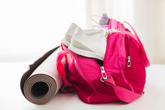 Close up of female sports stuff in bag Stock Image