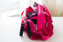 Close up of female sports stuff in bag Royalty Free Stock Image
