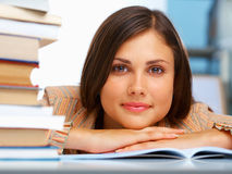 Close-up of a female student. With  books Stock Images