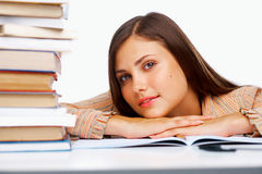 Close-up of a female student. With  books Royalty Free Stock Image