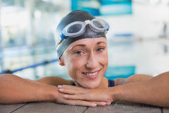 Close up of female swimmer in pool at leisure center Royalty Free Stock Image