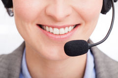 Close-up Of Female Telephone Operator Royalty Free Stock Photography