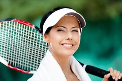 Close up of female tennis player Stock Photography