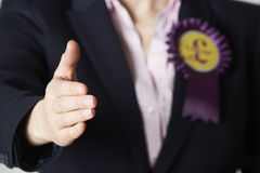 Close Up Of Female UK Independence Party Politician Reaching Out Royalty Free Stock Photo