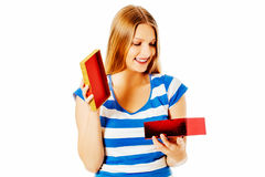 Close-up of female unpacking a present Royalty Free Stock Image