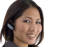 Close up of female using bluetooth device Royalty Free Stock Photos