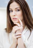 Close up of female wearing a lot of rings Royalty Free Stock Photos