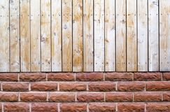 Fence made from softwood and brick-layer. Close up. Fence made from softwood and brick-layer Royalty Free Stock Image