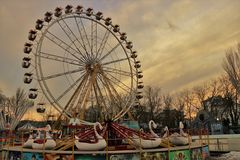 Close up of a Ferris wheel in an amusement park. royalty free stock photos