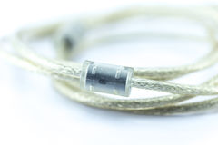 Close Up Ferrite Bead in USB. Or Electronic Data Cable for Noise or EMI Filter Royalty Free Stock Photos
