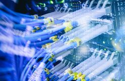Close up fiber optic cable. Servers racks.  Royalty Free Stock Photos