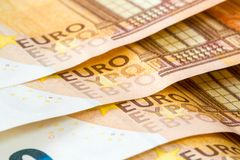 Close-up of fifty Euro banknotes Stock Photo