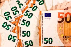 Close up of fifty Euro notes mix stock photography