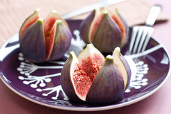 Close up of figs on the plate Royalty Free Stock Photo