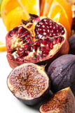 Close up of figs and pomegranate Stock Images
