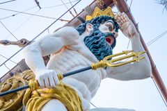 Close up of figurehead on Pirate Ship in Genoa, Italy royalty free stock photography