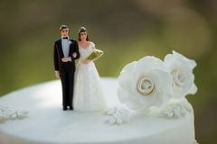 Close-up of figurine couple on wedding cake Stock Photos