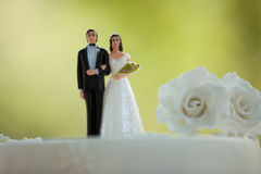 Close-up of figurine couple on wedding cake Royalty Free Stock Images