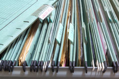Close up File folders in a filing cabinet Stock Photo