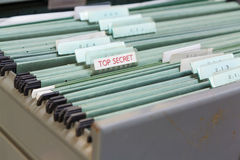 Close up File folders in a filing cabinet Royalty Free Stock Photos