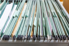 Close up File folders in a filing cabinet Royalty Free Stock Photography