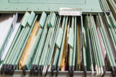 Close up File folders in a filing cabinet Royalty Free Stock Image