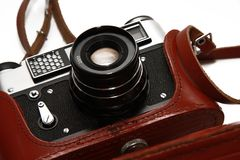 Close-up film camera isolated on white Royalty Free Stock Photo