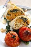 Close-up of filo parcels with roasted tomatoes Stock Photo