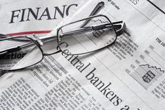 Close up of a financial newspaper pages stock photo
